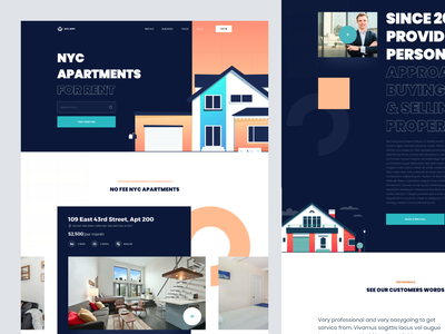 Real Estate Website rent landing page ui clean ux homepage agent booking management property sell buy website realestate