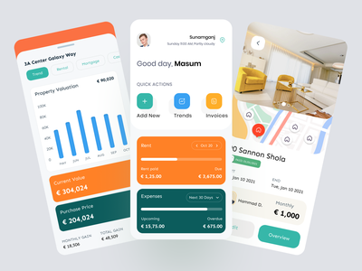 Property Management Mobile App ux ui mobile property owner admin property management tenants dashboard booking investment trends rent service realestate