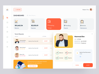 Property Management Web App dashboard web app web design ux ui tenant request property owner sell buy rent booking system realestate property management