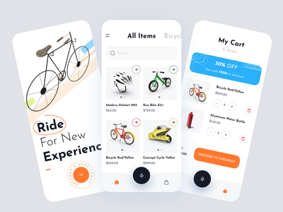 Ecommerce mobile app ( Bicycle ) shopping app buy sell service ux ui mobile app discount checkout cart ecommerce app shop
