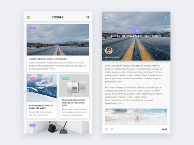 Blog UI | Exploration clean ios app mobile blog ui ux creative website article news blog