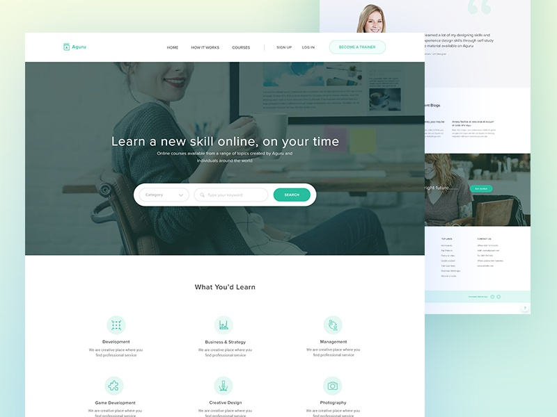Aguru Startup Website | Exploration responsive education real estate simple clean ux ui landing page home page