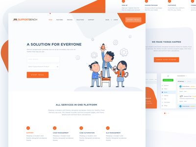 Supportbench Website Redesign zendesk ui trend supportbench support landing page home page helpscout getcollect freedom customer creative
