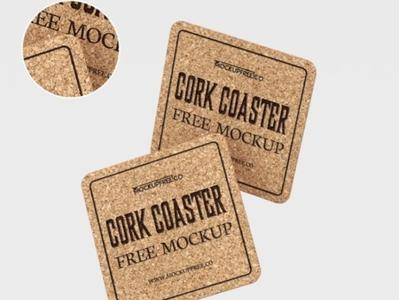 Free Cork Coaster Mockup