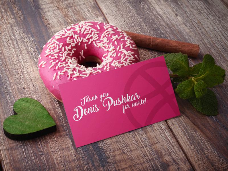 Dribbble Thank You! mockups product thank you free mockup wood sweetness mint heart donut cinnamon business card