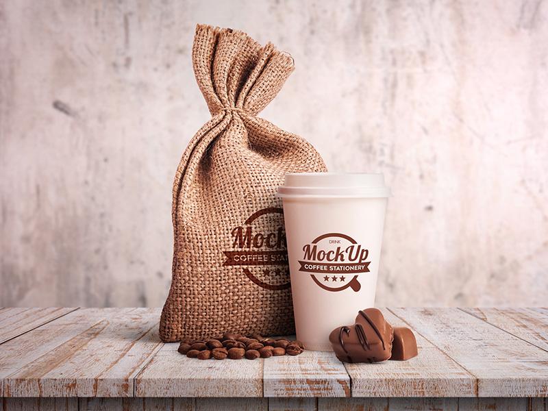 Coffee Stationary – Free PSD Mockup mockups product free mockup wood sugar package drink coffee chocolate business card bag