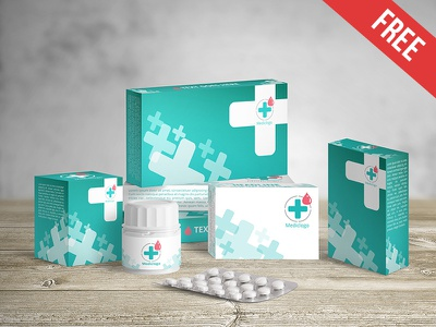 Medical Packaging - Free PSD Mockup mockups product free mockup pill pack medicine medical packaging help first aid box bottle