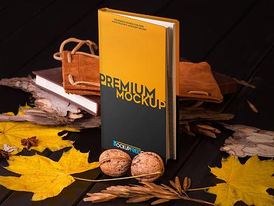 Notebook in Autumn Scenery – 3 Free PSD Mockups mockups product free mockup nuts notebook leaves leather book bark autumn