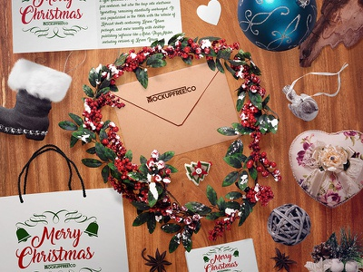 Christmas Scene (49 objects) – 3 Free PSD Mockups mockups product free mockup package envelope gift business card postcard scene generator christmas