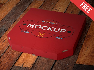 Pizza Box - Free PSD Mockup mockups product free mockup pizza package pack food eat delivery cardboard box