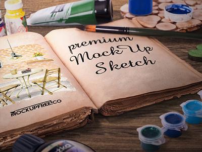Artist Sketch Book – 6 Free PSD Mockups mockups product free antiquity mockup brush artist sketch paints book