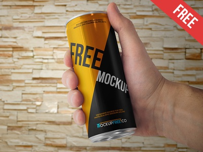 Energy Drink Can - 2 Free PSD Mockup mockups product free mockup soft drink soda hand energy drink drink can beer aluminium