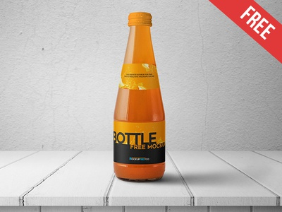 Juice Glass Bottle - 2 Free PSD Mockups