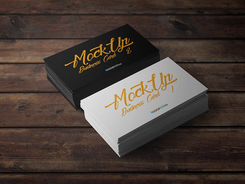 Business Card – 10 Free PSD Mockups mockups product free mockup wood table realistic perspective dark company business card