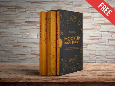 Book Box Set – 2 Free PSD Mockups mockups product free mockup study students set school paperback cover box book