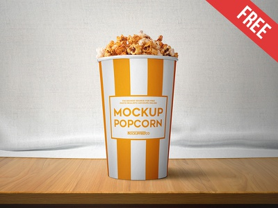 Popcorn – 2 Free PSD Mockups mockups product free mockup popcorn food eat delicious corn container cinema carton