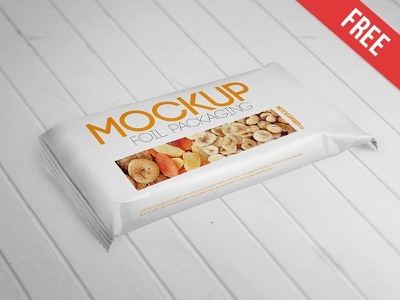 Foil Packaging – Free PSD Mockup mockups product free mockup sweet snack packaging food foil candy biscuits bar
