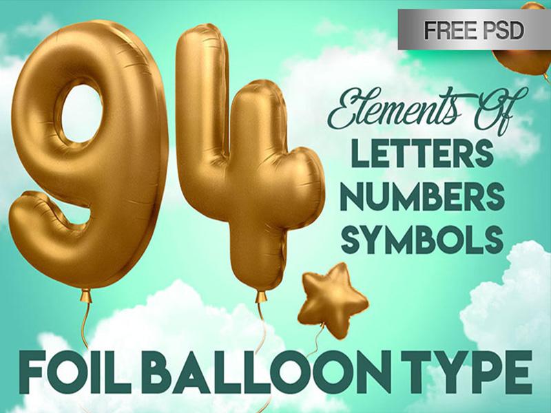 FREE 3D Alphabet Foil Balloon in PSD
