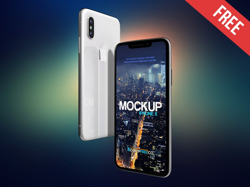 iPhone X – 2 Free PSD Mockups mockups product free mockup screen presentation perspective iphone x display application apple app