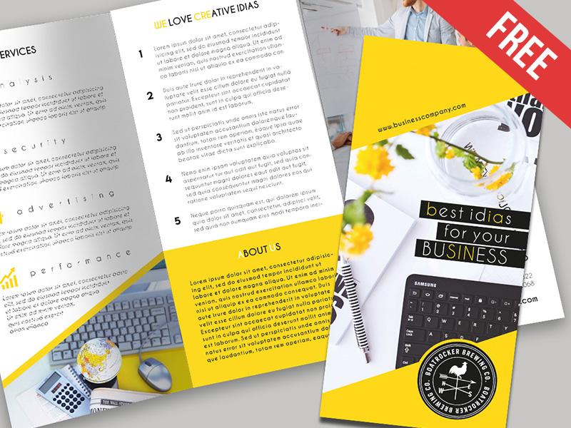 Free Business Tri Fold Brochure Psd Template By Mockupfree Dribbble