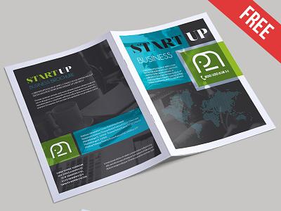 Free Startup Business Bi-Fold PSD Brochure Template bi-fold brochure psd brochure download freebie psd busines template business brochure
