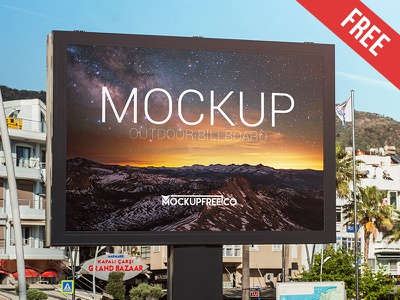Outdoor Billboard – Free PSD Mockup mockups product free mockup sign promotion outdoor city billboard banner advertise ad