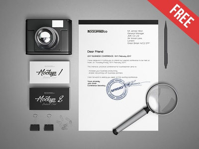 Business Stationery v2 – 3 Free PSD Mockups stationery sheet pen paper clips loupe camera business mockups product free mockup