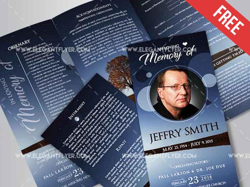 free funeral tri fold psd brochure template by mockupfree