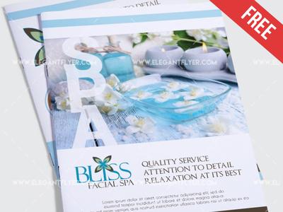 Free Relaxing Salon&Spa – Bi-Fold PSD Brochure Template