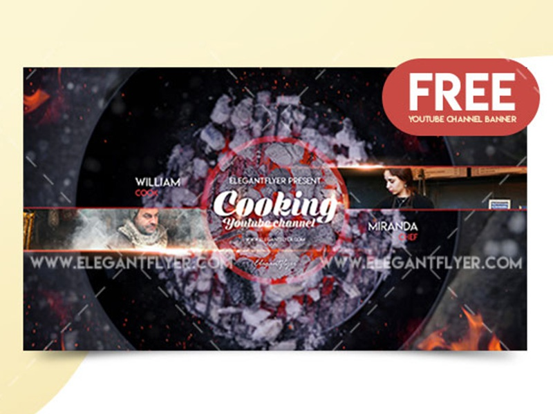 Cooking – Free YouTube Channel Banner by Mockupfree on Dribbble