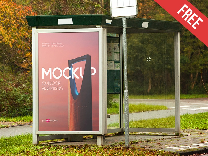 Free Outdoor Advertising Mock-up in PSD bus stop bus street ad advertisement banner signage outdoor mockups product free mockup