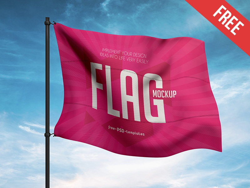 Free Flag Mock-up in PSD symbolism logo cloth wind cloud sky flag mockups product free mockup