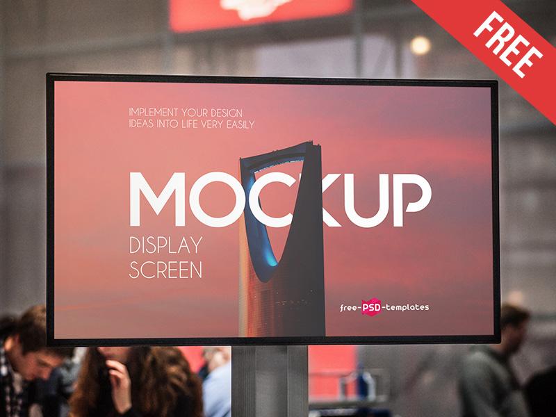 Free Display Screen Mock-up in PSD ips lcd tv showcase presentation screen display mockups product free mockup