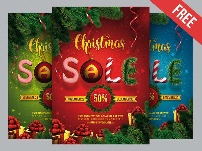 Free Christmas Sale Poster PSD Template by Mockupfree on ...