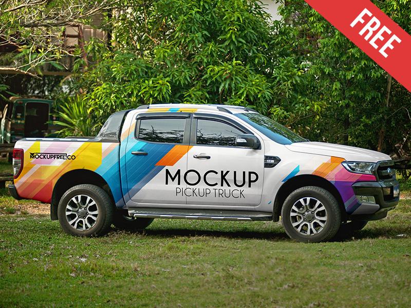 Pickup Truck – 2 Free PSD Mockups truck transport pickup drive car brand auto mockups product free mockup