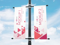 Free Lamp Post Banner Mock-up in PSD