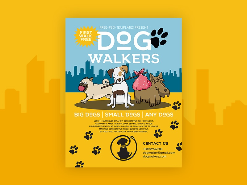 Free Dog Walkers Flyer In Psd By Mockupfree Dribbble