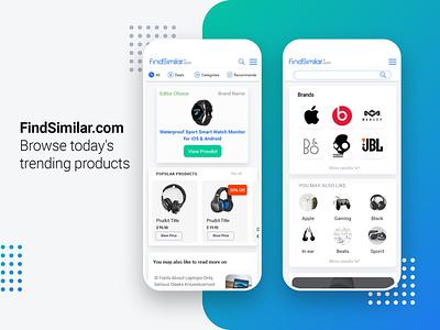 FindSimilar Mobile ui products shopping online shop mobile ecommerce