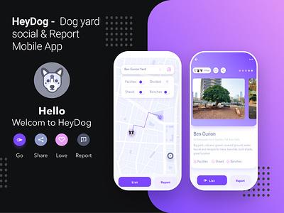 Heydog - app pets vector mobile app navigation dog app mobile