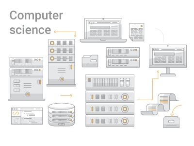 Computer Science icons high tech coding computer technology computer science vector illustration