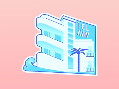 Tel Aviv Sticker dribbbleweeklywarmup design hometown illustration vector warmup dribbble challenge telaviv