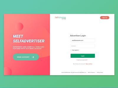 New Login Selfadvertiser branding desktop application desktop platform login ui high tech login page