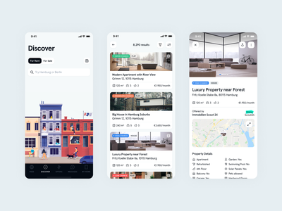 Discover -- Immomio iOS App illustration significa interface ios app mobile map icons list search bottom bar house card property real estate