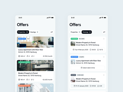 Offers - Immomio iOS App real estate status date calendar appointments houses icons list cards app ios app mobile ios interface significa