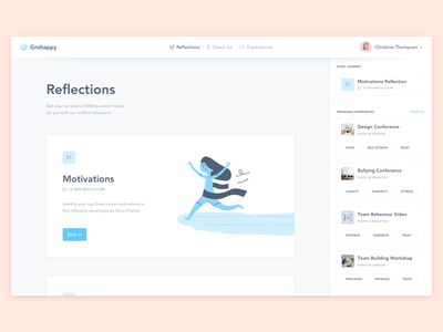 Grohappy was featured! 😃 avenir app desktop illustration blue significa interface sidebar ui dashboard