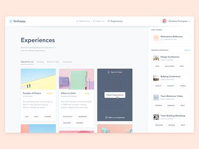 GroHappy Experiences! dashboard ui sidebar interface significa blue illustration desktop app avenir