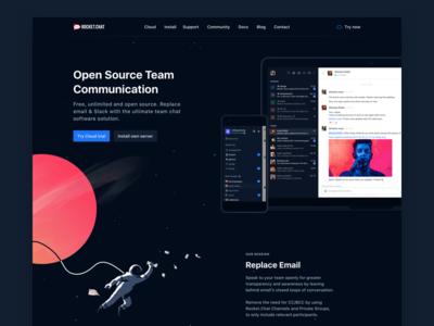 Rocket.Chat Landing Page interface chat desktop website illustration astronaut dark devices hero space landing lp