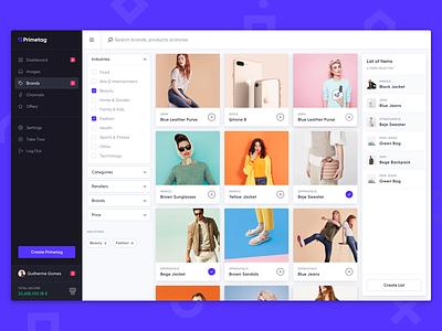 Primetag Platform interface purple gilroy cards grid sidebar platform app desktop