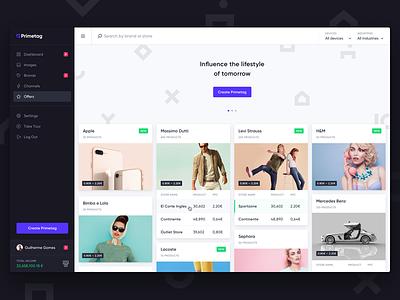 Primetag Platform sidebar purple significa gilroy cards app desktop platform