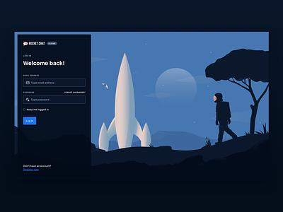Rocket.Chat Cloud Login illustration blue significa ui astronaut space dark form login